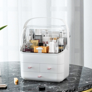 Dust Proof Makeup Organizer for Storage of cosmetics and other Beauty Products with lid and large Capacity
