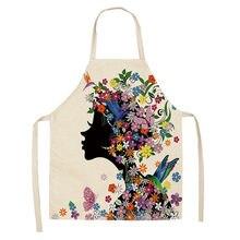 Фартуки с цветочным принтом и бабочкой для девушек Кухонные