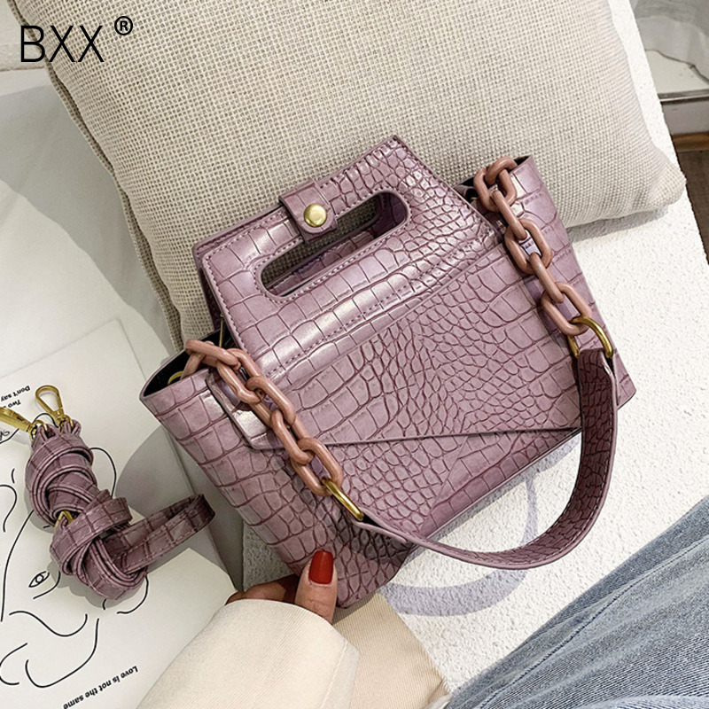 [BXX] Stone Pattern PU Leather Shoulder Crossbody Bags For Women 2020 Fashion Chain Design Handbags And Purses Lady Totes HM095