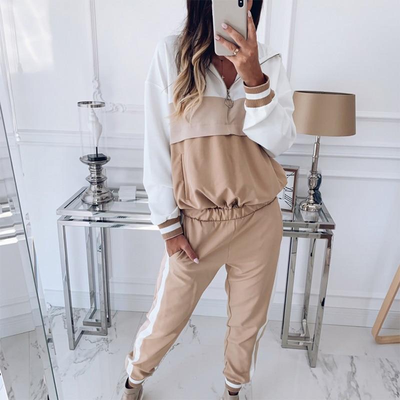 Spring Hoodies Pants 2 Piece Set Women Tracksuit Plus Size 3XL Sweatshirt Sweatpants Women's Two Sets Fashion Safari Style Suit