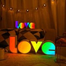 Светильник с буквенным принтом love алфавит разноцветный светодиодный