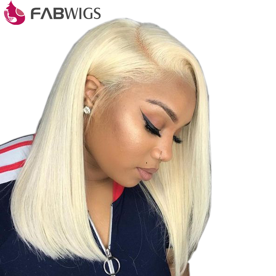 Fabwigs #613 Blonde Lace Front Human Hair Wigs with Baby Hair 180% Short Human Hair Wigs Transparent Lace Front Wig Bob Wig Remy