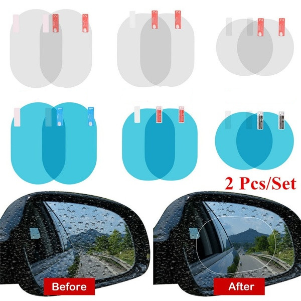 2 PCS Car Sticker Rearview Mirror Protective Film Anti-Glare Scratch Fog HD Rainproof Rear View Mirror Film Ellipse/Random Shape