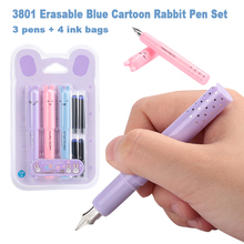 Fountain Pen Set with Ink Sac Rabbit Shape Calligraphy School Supplies Writing Pens Fine Nib Mini Stationery Student Kids Gifts