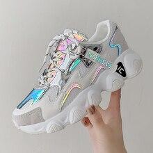 Women Platform Sneakers Ulzzang Fashion Tenis Female 5cm White Pink Thick Sole W