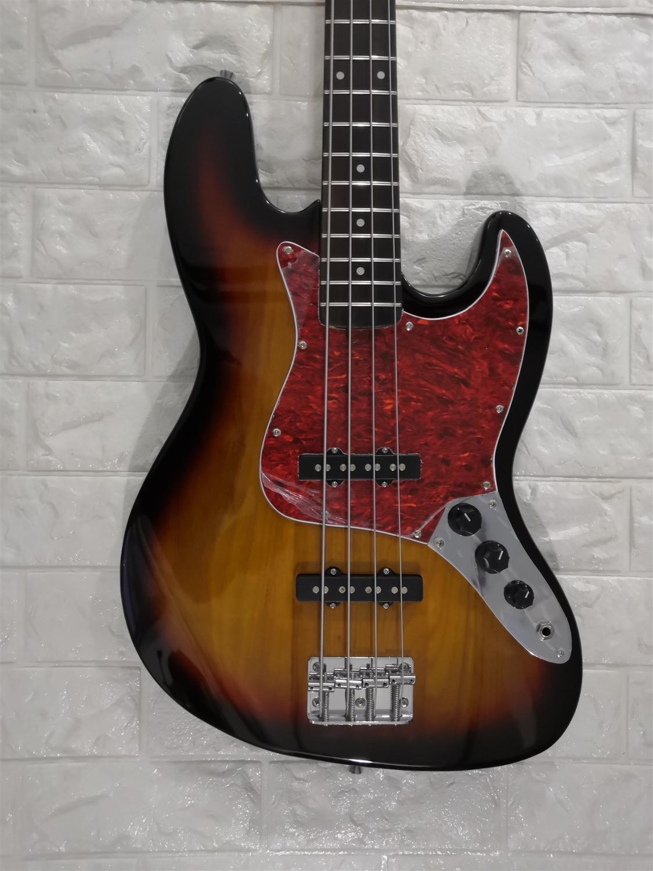 Guitare électrique basse Jazz basse 4 cordes Sunburst couleur palissandre touche rouge glace fleur Pickguard Paypal disponible!