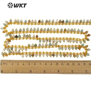 Image 5 - WT RBC105 WKT متعددة الألوان امازونيتي الذهب سلك ملفوفة الوردية سلسلة 5 متر للنساء صنع مجوهرات أنيقة