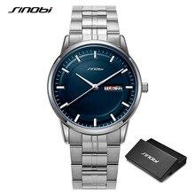 SINOBI wysokiej jakości luksusowy męski zegarek biznesowy męski zegarek kwarcowy ze stali nierdzewnej sport klasyki zegar Relogio Masculino