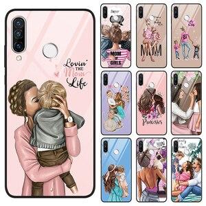 Чехлы из закаленного стекла для Huawei P Smart, 2019, P40 P30 P20 Mate Honor 20 10 30 Lite Pro 8X 9X, чехол-накладка для мамы и дочки
