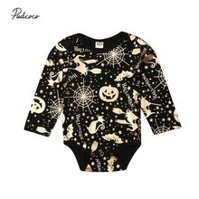2019 Baby Spring Autumn Clothing Halloween Newborn Infant Baby Boys Girls Gold Printed Long Sleeve Bodysuits Pumpkin Outfits Set(China)