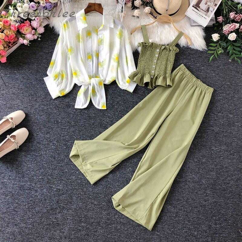Костюм женский летний из трех предметов, шифоновая ажурная рубашка с принтом маргариток в Корейском стиле, блуза на бретельках и широкие бр...