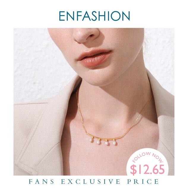 Enfashionパールチョーカーネックレス女性ゴールドカラーのステンレス鋼のペンダントネックレスクリスマスプレゼントファムファッションジュエリーP193029