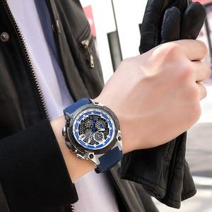 Image 5 - Megir Mannen Sport Horloge Relogio Masculino Blauw Siliconen Band Heren Horloges Top Brand Luxe Lichtgevende Waterdichte Quartz Horloge Man