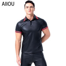 AIIOU Mens T-shirts PU Leather Short Sleeve T Shirt Sexy Black Faux Leather Shirt Wet Look Undershirt Party Clubwear Gay Shirts(China)