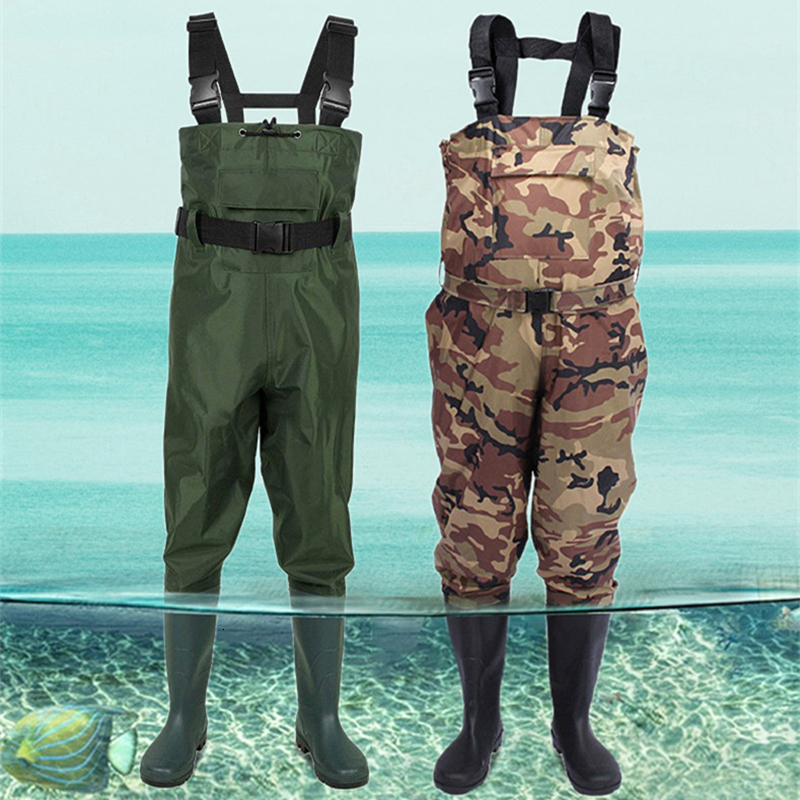 DHL Free Shipping Outdoor Fly Fishing Chest Waders Waterproof Stocking Foot Rubber Wading Jumpsuit Farming Hunting Camping Boots