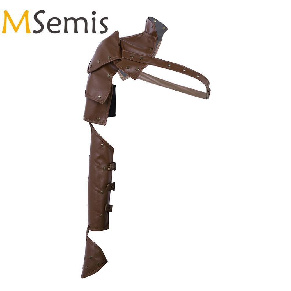MSemis 2PCS Gothic Punk  Leather Warm Arm Shoulder Guard Accessory Metal Rivets Shoulder Armors Arm Strap Set Arm Protector