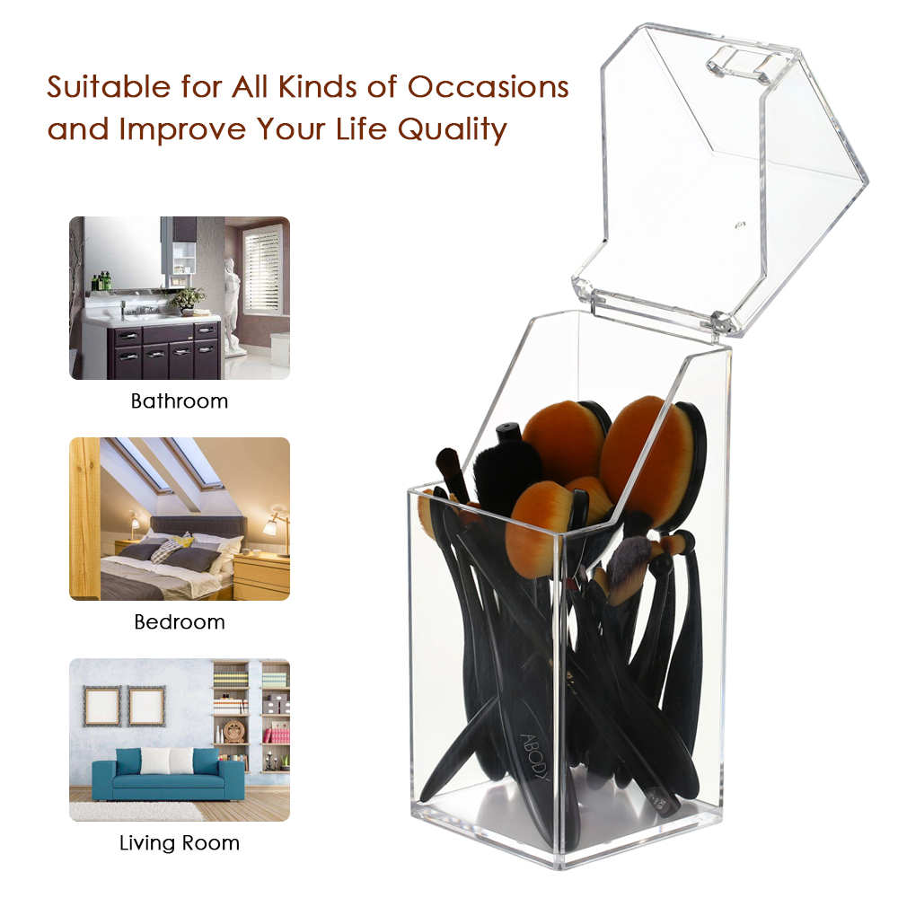 Makeup Brush Organizer Clear Acrylic Dustproof Cosmetic Brushes Eyebrow Pencil Storage Holder With Lid