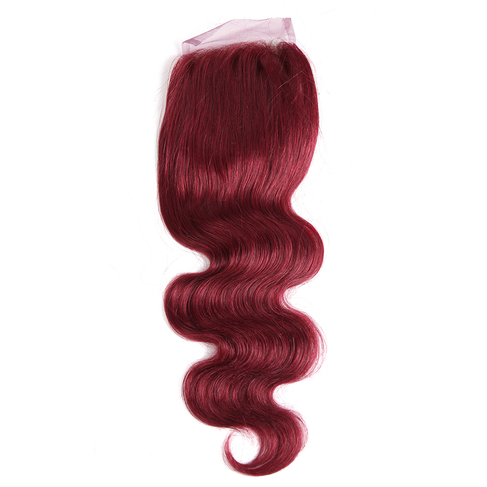 99J/Burgundy Auburn Blonde Color Human Hair Closure EUPHORIA Brazilian 100% Remy Human Hair Pre-Colored Swiss Lace Closures