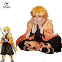 ROLECOS Anime demonio asesino Cosplay traje Agatsuma Zenitsu Kimetsu no Yaiba Cosplay traje de los hombres Kimono amarillo uniforme conjunto completo