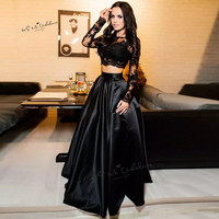 Sexy Cheap 2 Piece Prom Dresses Long Sleeve Lace Evening Dress Black Special Occasion Party Wear Vestidos de Formatura Satin