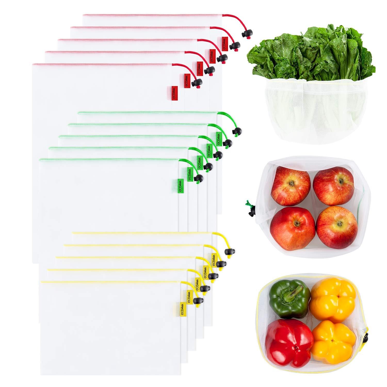 Многоразовые сетчатые мешки, 15 упаковок, моющиеся экологически чистые легкие сумки для хранения продуктов, для покупок, фруктовая сетка для...