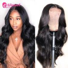 Ali жемчужные волосы, волнистые волосы 4x4, парик на застежке для чернокожих женщин, перуанские кружевные передние парики из человеческих воло...