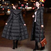 Chaqueta de invierno negra para mujer, abrigo Parka largo grueso y cálido, sudaderas con capucha ajustadas a la moda para mujer, Abrigo acolchado de algodón ZO854
