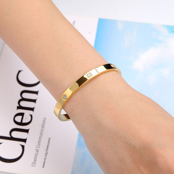 Fashion Classic Crystal Cuff Bracelet for Women/Men Gold Color Stainless Steel Bracelets & Bangles Couple Love Jewelry Best Gift 5