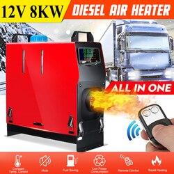 Hcalory Alle In Einem 1-8kW Air diesel Heizung Roten 8KW 12V Ein Loch Auto Heizung Für Lkw Motor- häuser Boote Bus + LCD schlüssel Schalter