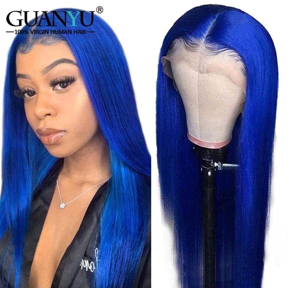 Parrucca per capelli umani blu Royal pre-pizzicata 613 bionda grigio rosa verde rosso parrucca parte in pizzo Remy per donna parrucca diritta colorata Ombre