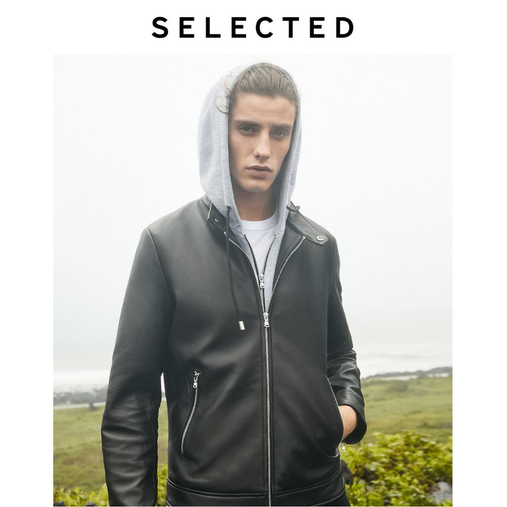 SELECTED Men's Sheepskin Genuine Leather Coats Detachable Hood Zip-through Clothes Leather Jacket S | 419410508
