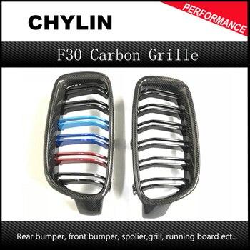 Натуральная углеродное волокно 3 цвета 3 серии f30 f31 f35 гриль двойная планка глянцевая черная решетка для bmw 3 серии 318i 320i 328i 330i 335i