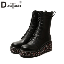 DORATASIA New Autumn 33-41 Luxury Brand Booties Ladies Black Genuine Leather Platform Boots Women 2019 Wedges Shoes Woman