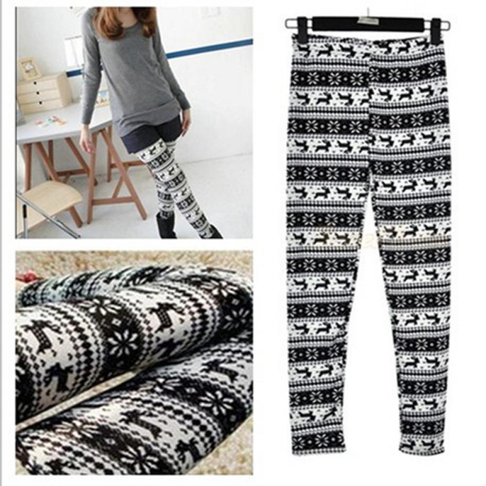 Fashion Women Knitted Nordic Snowflake Leggings Reindeer Xmas Deer Warm Slim Pants  Winter