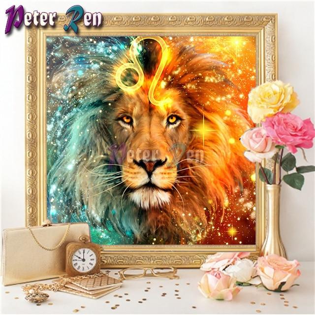 Diy pintura de diamante bordado floral completo diamante colorido León rey bordado diamante decorar diamantes mosaico regalos