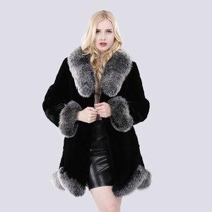Image 2 - חדש חורף נשים טבעי ארוך סגנון אמיתי רקס ארנב פרווה מעיל רוסיה ליידי חם אופנה רקס ארנב פרווה מעיל עם שועל פרווה צווארון
