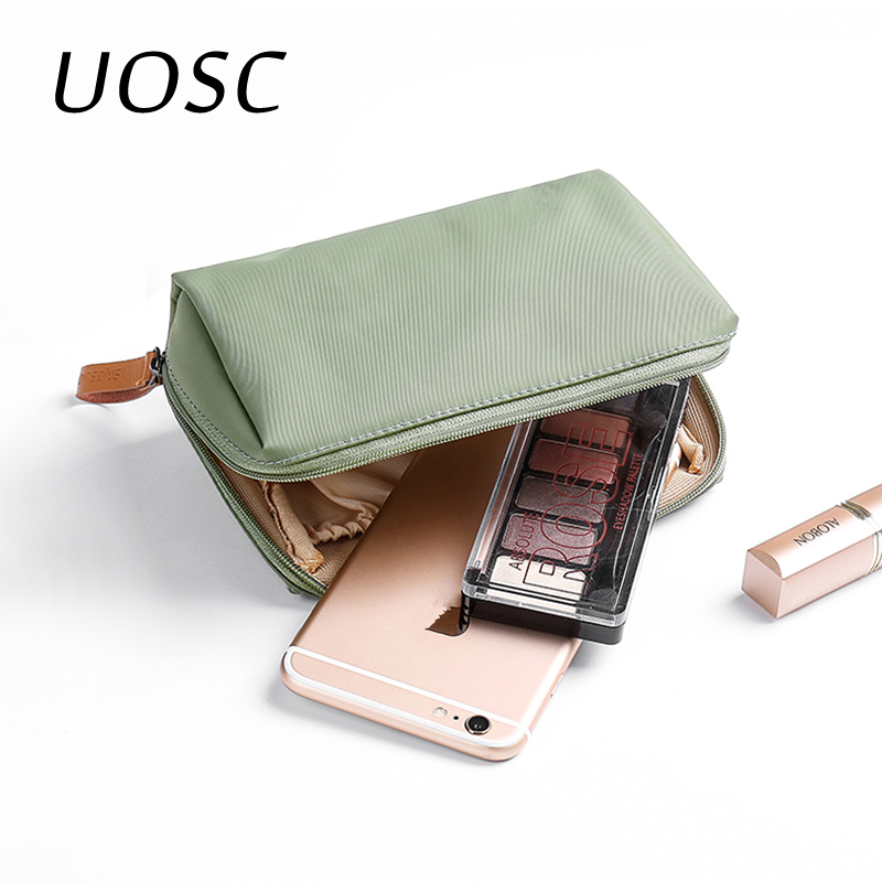UOSC Solid Cosmetic Bag Korean Style Women Makeup Bags Pouch Toiletry Bag Waterproof Makeup Organizer Case For Dropshipping(China)