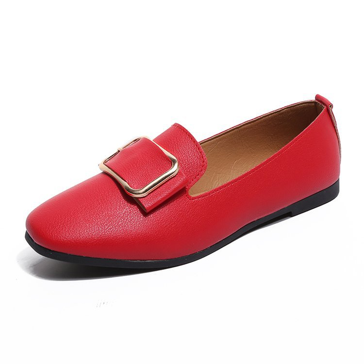 2019 summer flats women shoes lazy shoes loafers square-toe metal buckle shoes