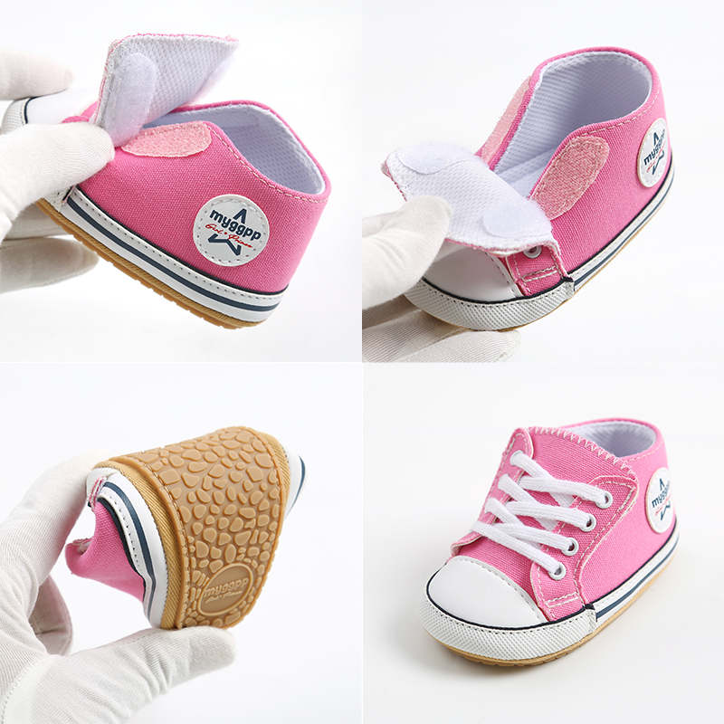 2021 New Classic Baby Canvas Shoes Toddlers Rubber Sole Moccasins Anti-slip Infant First Walkers Boys Girls Newborn Crib Shoes 5