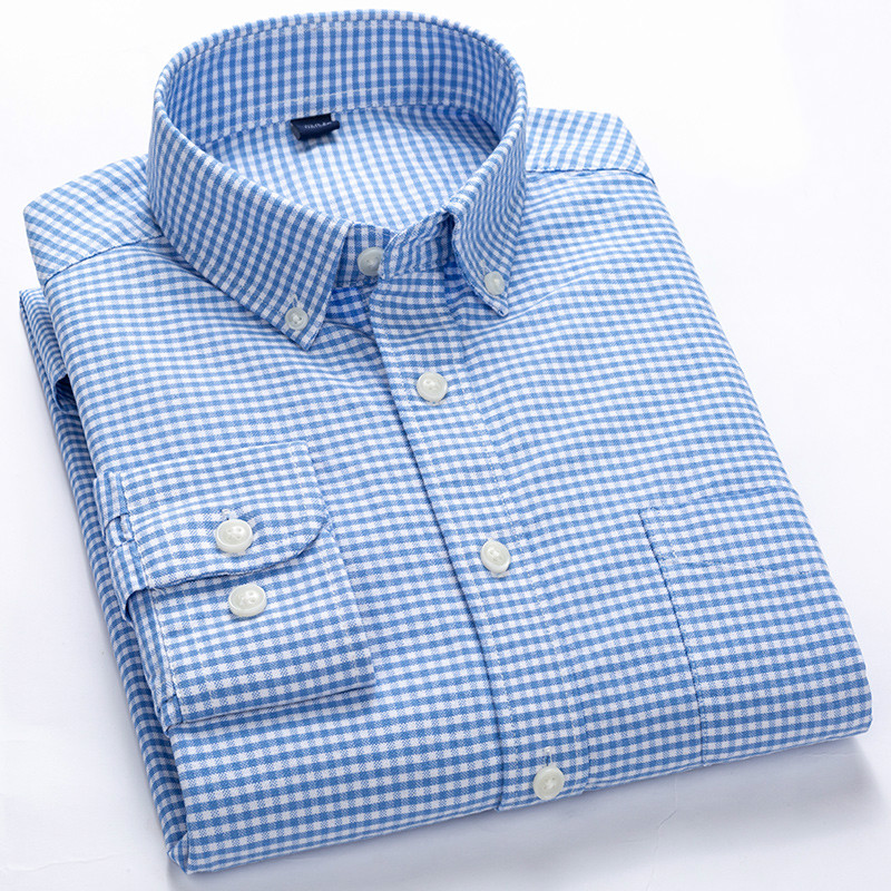 Plaid Shirt Striped Slim Fit Shirt Men Pure Cotton Mens Fashion Clothing Trends Oxford Longsleeve Shirt for MenKorean Clothes