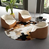 American style Round shaped diamond plaid cowhide patchwork rug ,genuine cows skin fur decoration floor mat