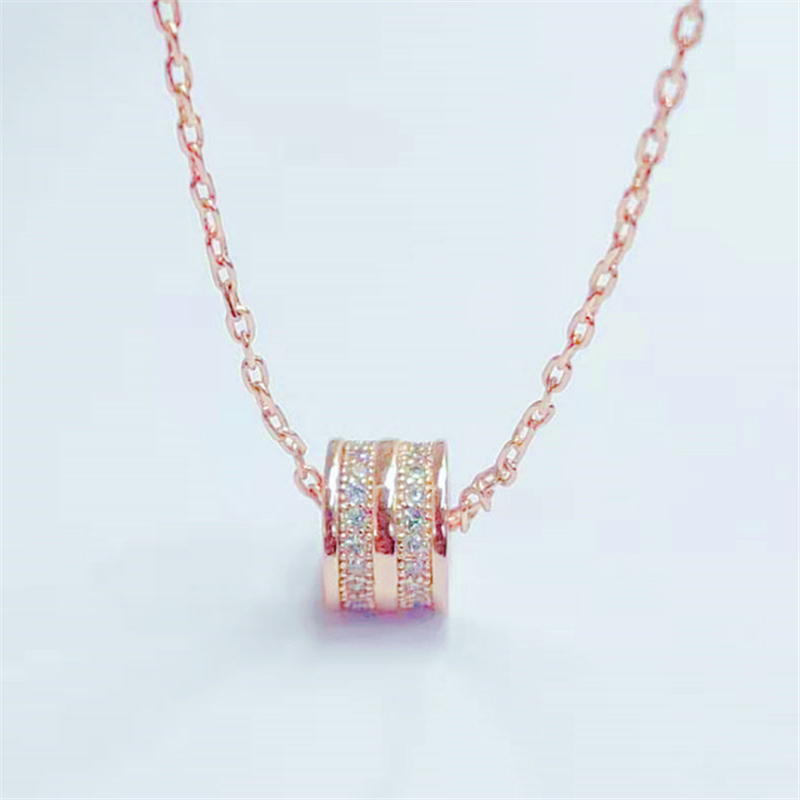 Trendy Luxury Rose Golden Geometric Cylinder Necklace CZ Stones Accessories Fashion Necklaces For Women 2019 Statement KXL1185