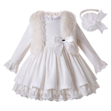 Pettigirl White Corduroy Dress For Girls Princess Dress Girl Boutique Ruffle Kids Clothing With Headwear And Faux Fur Vest Coat