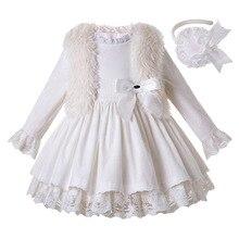 Pettigirl vestido de veludo branco para meninas vestido de princesa menina boutique plissado crianças roupas com touca e casaco de pele do falso