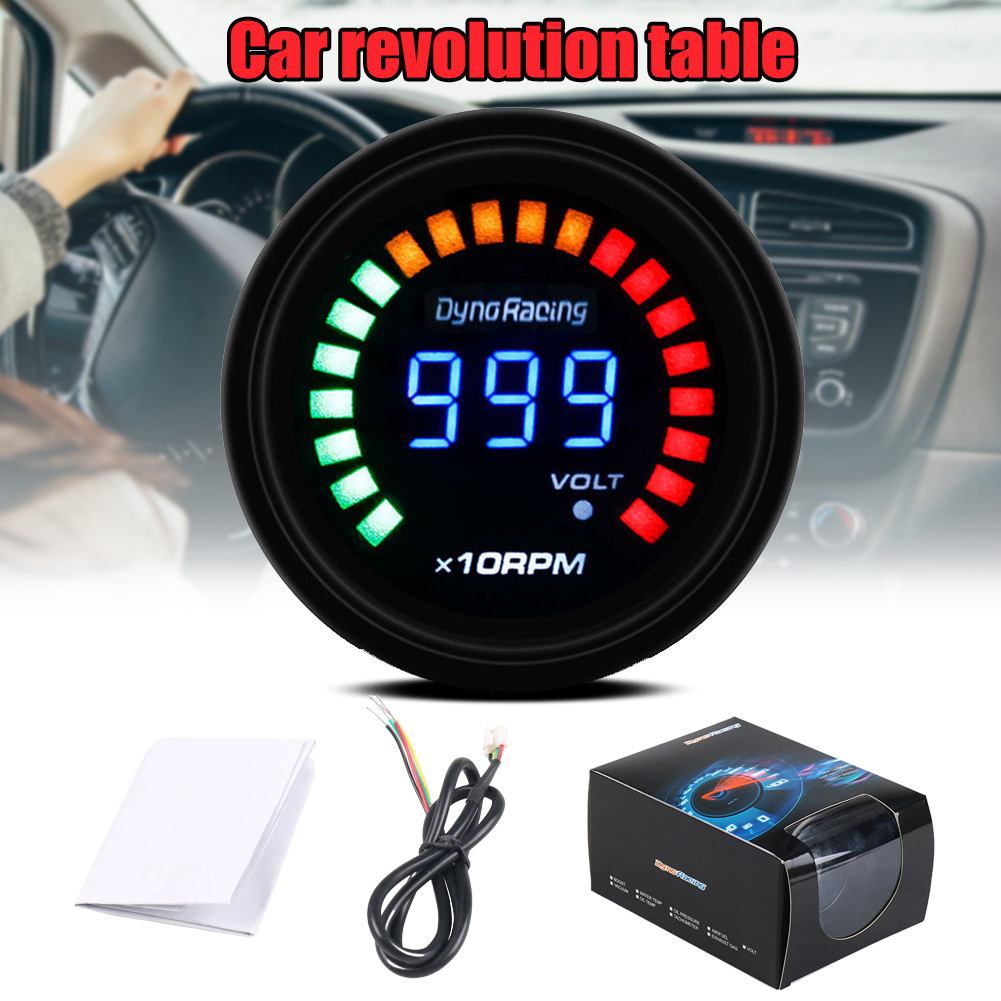 2019 Hot Racing Speed Gauge Tachometer Meter LED Scale Digital Display Car Modification 0-10000 RPM 12V Universal X66
