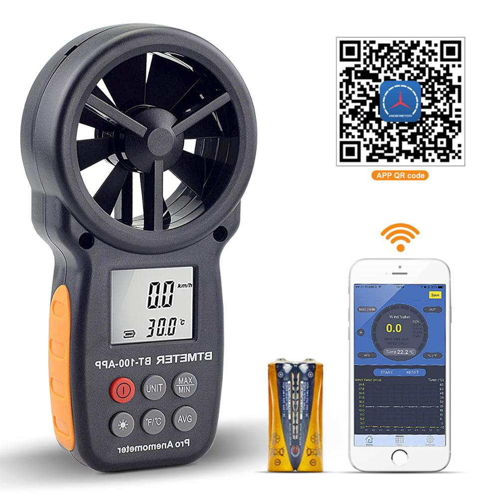 Digital Anemometer Tester With Mobile APP Wireless Bluetooth Vane Anemometer Meter for Wind Chill,Speed,Temperature Monitor