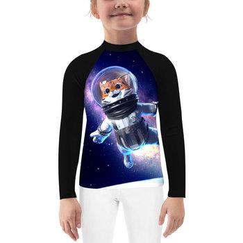 Astronauci kosmiczny kot śliczne dzieci z długim rękawem kompresja wysypka straż Unisex młodzież chłopcy dziewczęta MMA BJJ Jiu Jitsu tanie i dobre opinie Pasuje prawda na wymiar weź swój normalny rozmiar Pełna CH-01 Stretch Spandex Skin friendly comfortable and durable