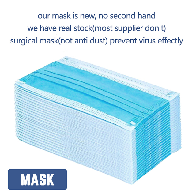 In stock! 20/40/60/100PCS Non Woven Disposable Face Mask 3 Layers Anti-Dust Face Masks Ear loop Mouth Mask 2