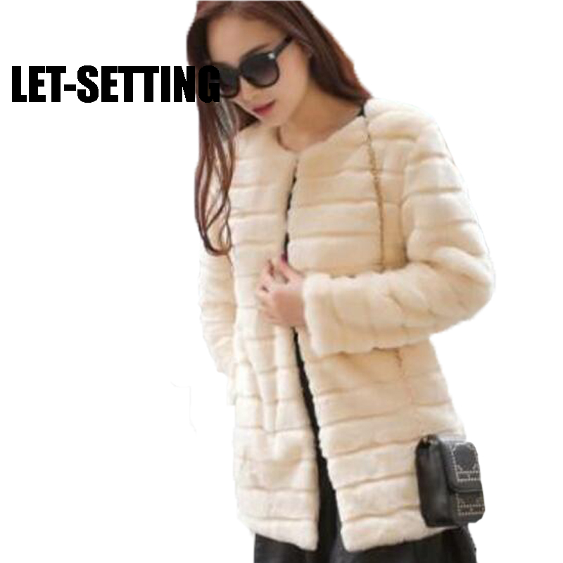 LET-SETTING Faux Fur winter coat women Leather grass imitation long sections faux fur Large size