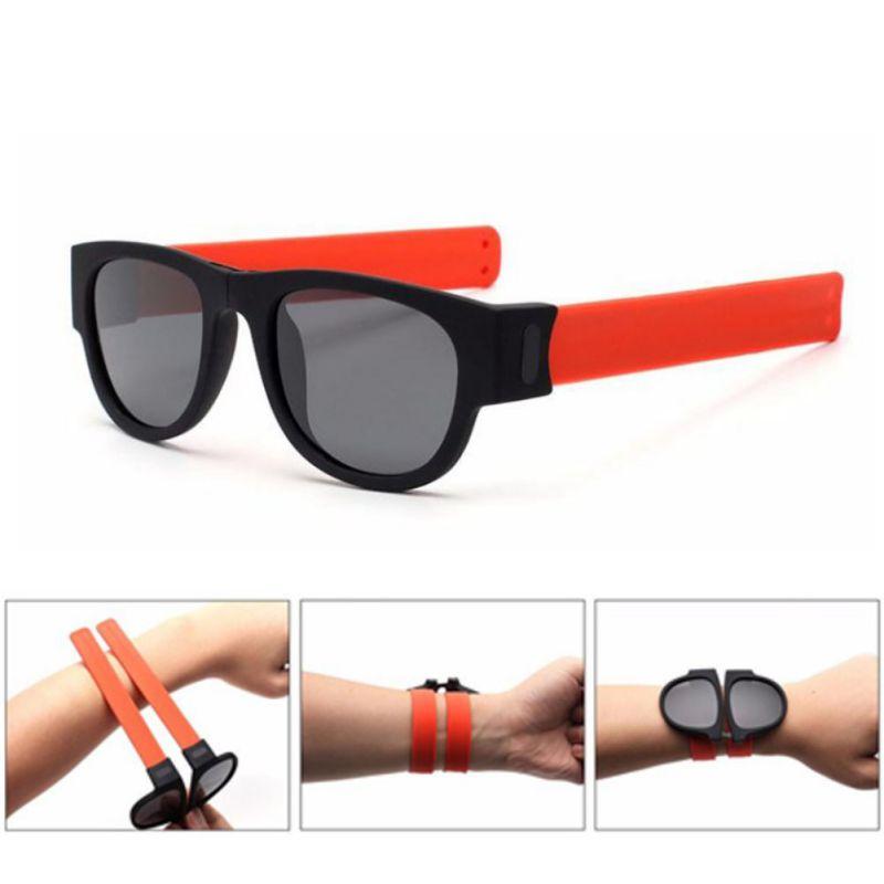 1PC Slap Folding Sunglasses UV400 Polarized Slappable Wristband Wrist Snap Bracelet Band Glasses Outdoor Accessories